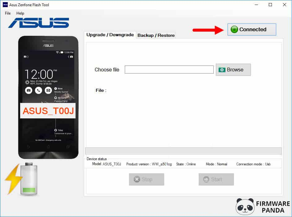 Asus Zenfone Flash Tool Connected - How to Flash Stock ROM Using Asus Zenfone Flash Tool