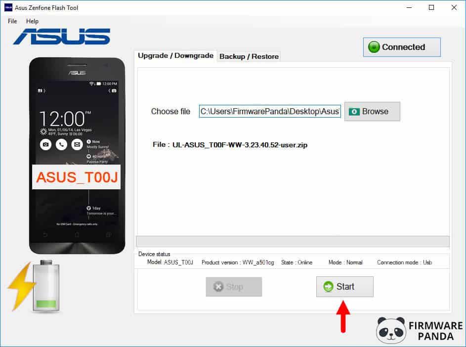 Asus Zenfone Flash Tool Start Firmware Flashing - How to Flash Stock ROM Using Asus Zenfone Flash Tool