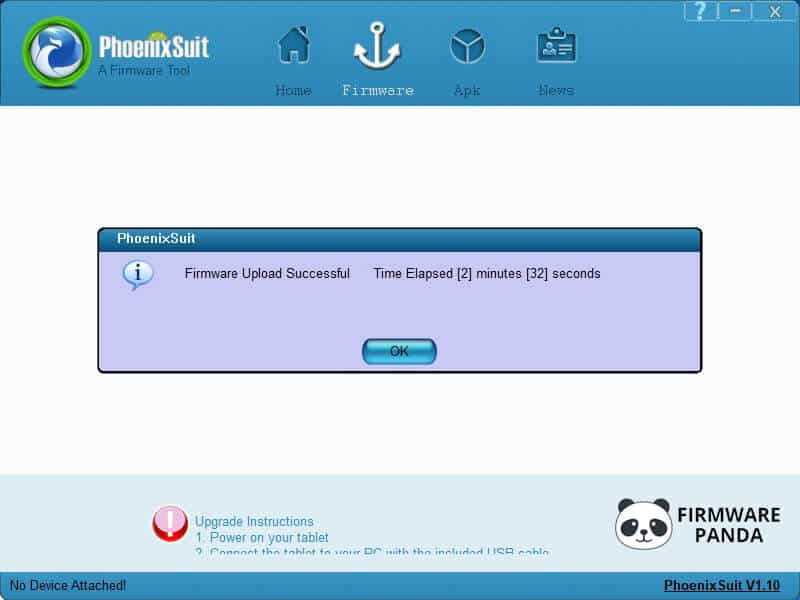 PhoenixSuit Firmware Flash Successful - How to Flash Stock ROM using PhoenixSuit