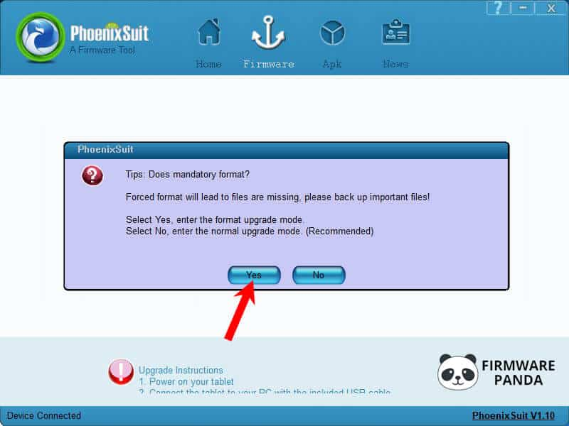 PhoenixSuit Mandatory Format - How to Flash Stock ROM using PhoenixSuit