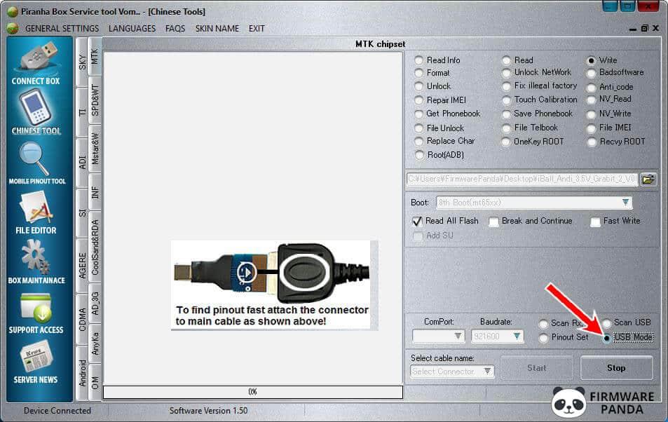PiranhaBox Tool Select USB Mode - How to Flash .bin Firmware using Piranha Box Tool
