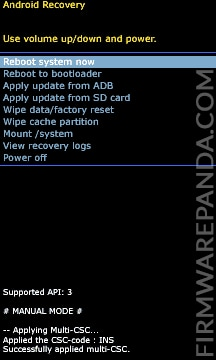 Reboot System Now from Stock Recovery Mode - How to Flash Samsung Stock ROM Firmware using Odin