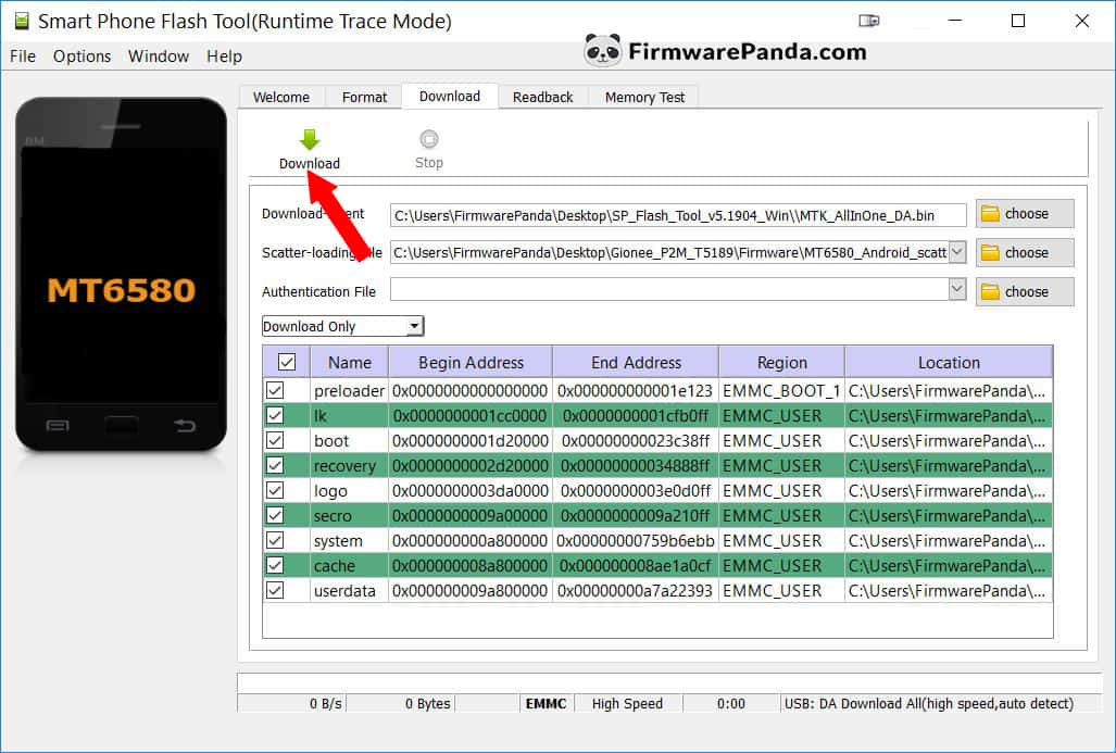 SP Flash Tool Scatter File Loaded - How to Flash Stock ROM Firmware using SP Flash Tool