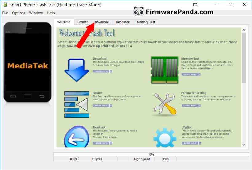 SP Flash Tool Welcome Tab - How to Flash Stock ROM Firmware using SP Flash Tool