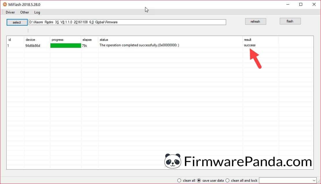 Xiaomi Flash Tool Success Message - How to Flash Stock ROM Firmware using Mi Flash Tool