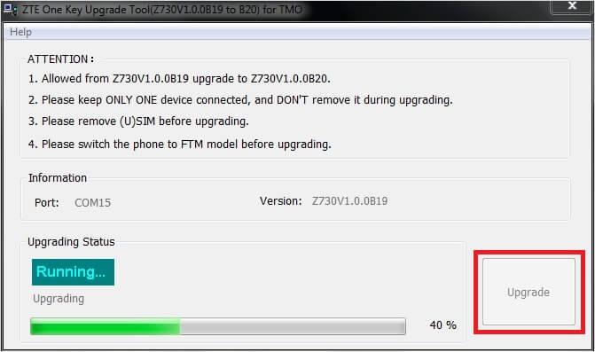 ZTE one Key Upgrade Tool Flashing - ZTE Concord II Z730